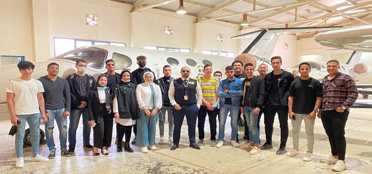 Students of the Faculty of Computer Science at Al-Nahda University in a visit to The Egyptian Aviation Academy